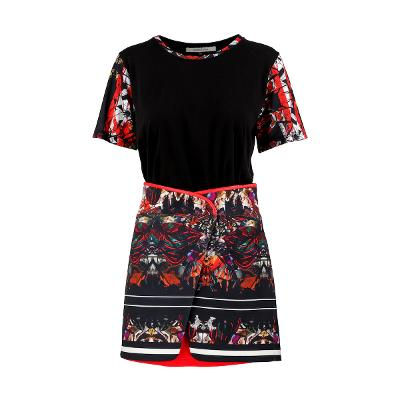 print tee red & leather band layerd skirt